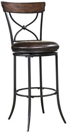 Amazon.com - Hillsdale Cameron Tall Swivel Brown Bar Stool - Barstools With Backs