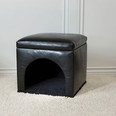 Noble House Black Bonded Leather Pet Bed