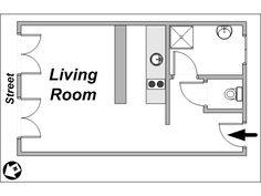Paris Studio T1 logement location appartement - plan schématique  (PA-3680)