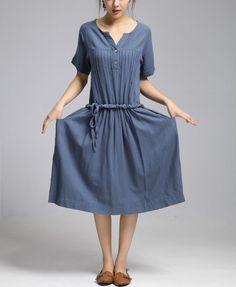 7d4058eeff9439 Loose line long dress flax Sexy Casual big Pleat Linen Maxi Dress Day dress  Short sleeve