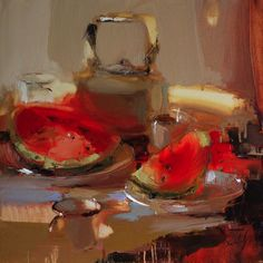 Artist Iryna Yermolova paints bold yet sensitive figurative studies with a confident style and a striking use of light and colour, often scraping paint away from the canvas to define her forms. Painting Still Life, Still Life Art, Paintings I Love, Sketch Painting, Illustrations And Posters, Watercolor Illustration, Figurative Art, Les Oeuvres, Flower Art