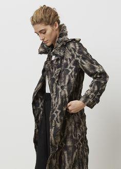 Comme des Garcons Ester Twill Faux Fur Print Coat (Black/Brown)