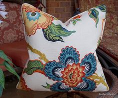 One or Both Sides High End Schumacher Hothouse Spark Pillow