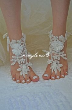 Shop for on Etsy, the place to express your creativity through the buying and selling of handmade and vintage goods. Ivory Sandals, Nude Sandals, Bare Foot Sandals, Sandals Wedding, Bridal Sandals, Halloween Games, Irish Lace, Summer Wear, Barefoot
