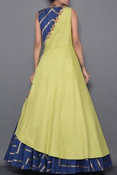 Blue & Green Zardosi Embroidered Silk Indo Western Gown-VF2646