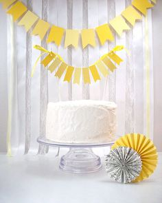 Yellow Flags Cake Bunting // Wedding Cake Topper // Birthday Cake // Baby Shower // Yellow Wedding //. $7.00, via Etsy.