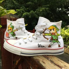 a211144601cd Kids Converse The Legend Of Zelda Hand Painted High Top Canvas SHoes ...