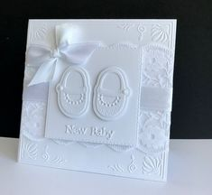 ~ Baby Shoes by sistersandie - Cards and Paper Crafts at Splitcoaststampers Baby Shower Cards Handmade, Greeting Cards Handmade, Craft Presents, Marianne Design Cards, Baby Christening, Welcome Baby, Baby Scrapbook, Baby Design, Creative Cards