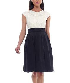 Loving this Ivory & Black Lace Cap Sleeve Dress on #zulily! #zulilyfinds
