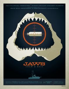 A cool retro interpretation of the Jaws poster.  If you watched the Jaws Mythbusters episode, you would have known that it would be impossible to blow up a shark by shooting the air tank, but hey, it's Hollywood!