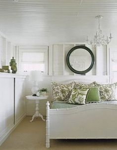 Tom Stringer: Beautiful white & green cottage bedroom design with white faux bamboo bed, white . Beautiful Bedrooms, Bedroom Green, Bedroom Inspirations, Green And White Bedroom, Small Bedroom, White Interior Design, White Rooms, Cottage Bedroom, White Bedroom Design