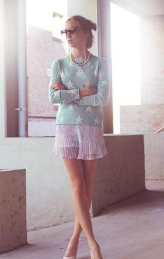 Shop this look on Kaleidoscope (sweater, skirt, sunglasses)  http://kalei.do/WX69gUa3A051xttw
