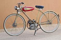 A 1949 Coven bicycle fitted with a T2 Cucciolo motor. Photographed in Cagliari, Sardinia in 2008.