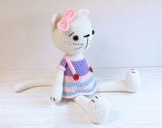 PATTERN : Cat - Kitty - Amigurumi Cat pattern - Cat with a skirt - Crochet pattern-Stuffed animals- doll-toy-baby shower