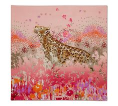 Leopard In Flower Garden Print Scarf