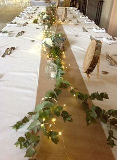 Love the lights with the green # lights # love – Hochzeitstisch Dekor - Wedding Table Long Table Wedding, Bridal Party Tables, Wedding Vases, Wedding Flowers, Buffet Wedding, Wedding Table Runners, Long Table Centerpieces, Wedding Table Centerpieces, Long Table Decorations