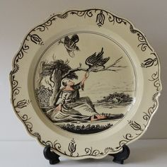 English Georgian Creamware Plate Dutch Decorated 18th Century 1770