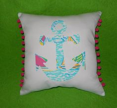 New Made to Order Anchor silhouette pillow made with Lilly Ragatta, available in over 70+ Lilly prints