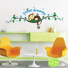 Sweet Dream Cartoon Monkey Wall Stickers For Kids Room Home Decorations Zooyoo1203 Diy Bedroom Decal Mural Art 2016 - $3.19