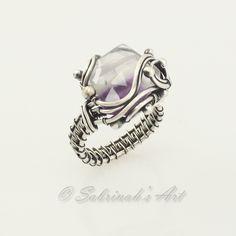 """Tectonic""  Chevron Amethyst embedded ring  http://www.SabrinahsArt.com"