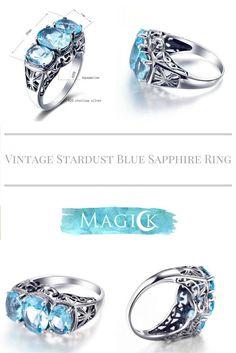 Vintage Triple Aqua Stone Ring