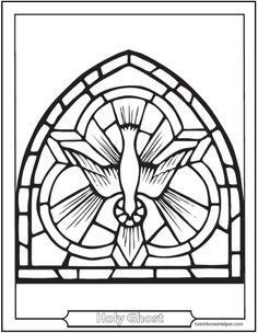 catholic confirmation symbols stained glass holy ghost as a dove coloring picture