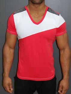 K D Men 2 Tone Studded V-neck T-shirt - Pink 81c3f8b4b4d5b