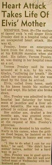 VISIT FOR MORE ♡♥Elvis' mom died of a heart attack brought on by acute hepatitis at the young age of only Newspaper clip incorrectly says Gladys died at 42 when she really died at age 46 in