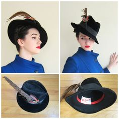 Vintage 1970s Black Wool Fedora with Feather / 70s Wide Brimmed Hat by Mr Jules by BasyaBerkman on Etsy