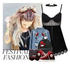 """""""578->Good Vibes Only: Festival Fashion"""" by dimibra ❤ liked on Polyvore featuring Topshop, self-portrait, Chiara Ferragni, Converse and Tiffany & Co."""