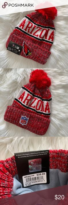 New Era NFL | Arizona Cardinals Beanie w/ Pom Pom • New Era official NFL gear • Arizona Cardinals  • Red, Black and White • Cardinals logo on the front, NFL logo on the back • One time removable pom pom if you just want it to be a beanie! • One size fits most adults • Brand new with tags  These make PERFECT Christmas gifts for football fans! Check out my closet for more teams! I ship orders same or next business day! 📦💕 New Era Accessories Hats