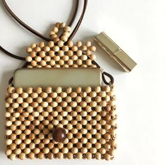Wooden Beads Bag / Wood Beads Purse / Beaded Boho Bag / Purse / Mini Clutch Small beads are made from hornbeam, Strap is leather, Bag is handmade in Balıkesir, Turkey. Beaded Clutch, Beaded Purses, Beaded Bags, Beaded Jewelry, Lace Earrings, Wedding Earrings, Wooden Purse, Art Bag, Diy Purse