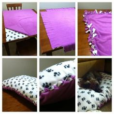 Diy no sew dog bed dog stuff diy dog bed, puppy pads, dogs Diy Dog Blankets, Diy Dream Catcher, Puppy Pads, Diy Dog Bed, Ideias Diy, Dog Crafts, Dog Items, Animal Projects, Pet Beds