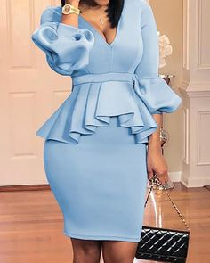 Shop Lantern Sleeve Ruffles Design Top & Skirt Sets right now get great deals at Voguelily. Mode Outfits, Chic Outfits, Fashion Outfits, Fashion Styles, Office Outfits, Girly Outfits, Office Dresses, Style Fashion, Cute Casual Outfits