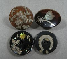 ButtonArtMuseum.com - Antique Victorian Inlayed Horn Buttons Silver MOP and Abalone Accents