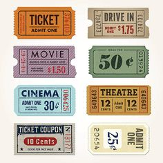 Vintage Tickets and Coupons Collection vector art illustration Printable Stickers, Cute Stickers, Ticket Design, Bussiness Card, Journal Stickers, Vintage Grunge, Aesthetic Stickers, Good Notes, Wall Collage