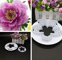 4 teile/los Pfingstrose Blütenblätter Muster Blume Kunststoff Paste Kuchen Presse Mold Set Cookie Zucker Fondant Kuchen Dekoration 020180(China (Mainland))