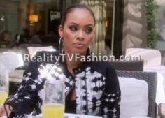 """""""Basketball Wives Miami's"""" Evelyn Lozada chatted with Shaunie in a BCBGMAXAZRIA Blu Ikat-Print Jacket. Evelyn's black and white long sleeve pique. Evelyn Basketball Wives, Evelyn Lozada, Black And White Jacket, Ikat Print, Miami Fashion, Print Jacket, White Long Sleeve, Jackets, Down Jackets"""