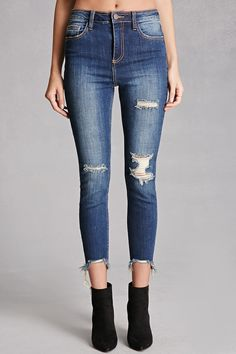 Cello Distressed Mid-Rise Jeans