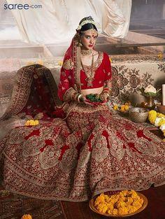 Red Lehenga Choli - saree.com - CCAA2040