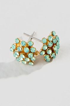 Hailee Stud Earrings, The sparkly mint crystal rhinestones sure to garner some attention; you'll be the envy of every woman!