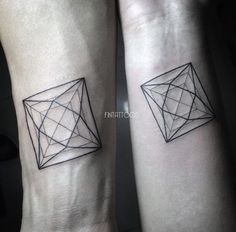 Geometric shapes sibling tattoos by Fin Tattoos