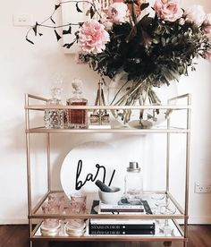 Such a cute bar cart!