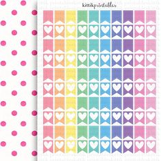 Small Stitched & Heart Flags  Printable Planner by kittikprints