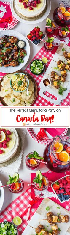 On #CanadaDay put together a festive menu that can be prepared and enjoyed outside in the backyard. From grilled chicken and kabobs to refreshing sangria and luscious lemon cheesecake, this backyard BBQ menu is one that can be enjoyed by all Canada Day party go-ers! #Ad