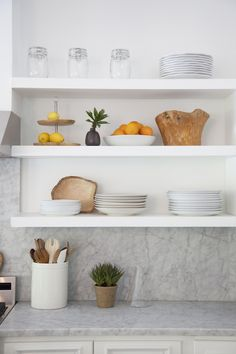 IKEA Lack shelf is a cool basic shelf, and you can use it wherever and however you want. IKEA Lack shelves can become nice corner shelves, floating . Kitchen Shelves, Kitchen Dining, Kitchen Decor, Kitchen Cabinets, Studio Kitchen, Open Kitchen, Kitchen Styling, Open Cabinets, Kitchen Storage