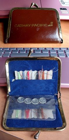 """Vintage """"Cathay Pacific Airline"""" sewing kit from the 1970s."""