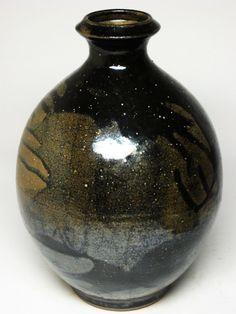 "LG 12"" Metallic Black Stoneware Vase Mid Century Danish Modern Eames Natzler Era | eBay"