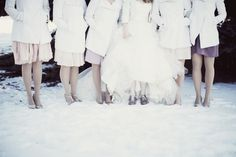 love this winter wedding picture! especially the matching pea coats