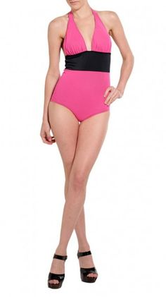 Black & Pink Halter One Piece >> Cute and simple!